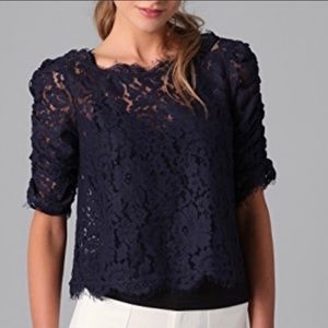 $228~JOIE~Navy SHEER Floral Lace FANNY Top~M~NICE!